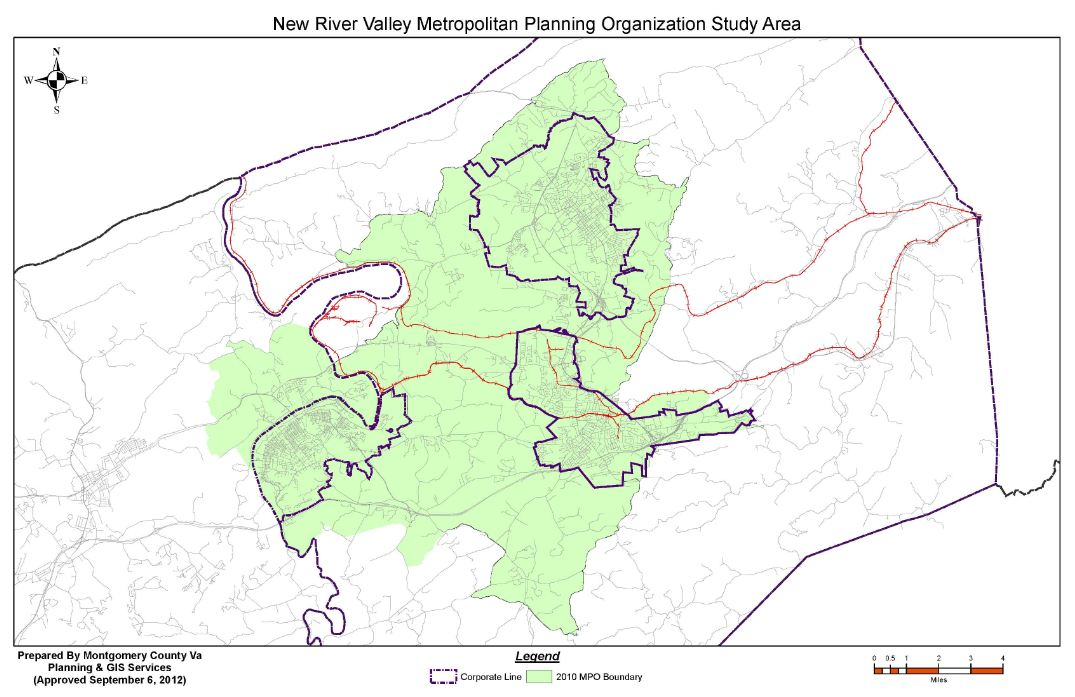 Map of New River Valley Metropolitan Planning Organization Study Area