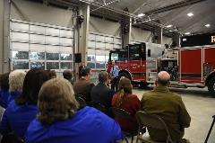Montgomery County Board Chair, Todd King, speaks at Riner Fire Department Ribbon Cutting Ceremony